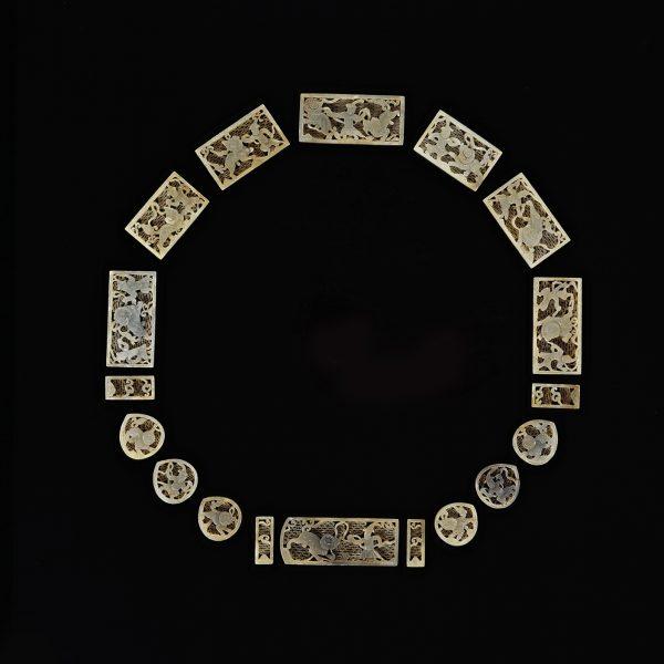 Set Of Jade Belt Plaques<br>鏤雕 玉人獅子紋带牌匾