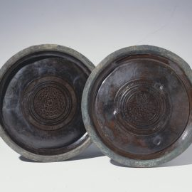 Pair Of Dated Circular Lacquer Trays漆記銘一對盆